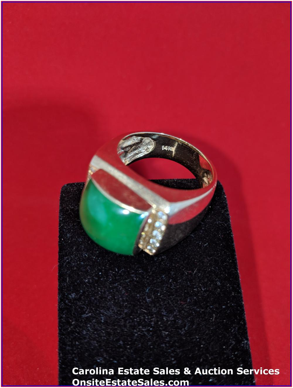 14K Gem Ring Gold 21 Grams Total Weight; Mans Imperial Jade with 0.42 ct Diamonds