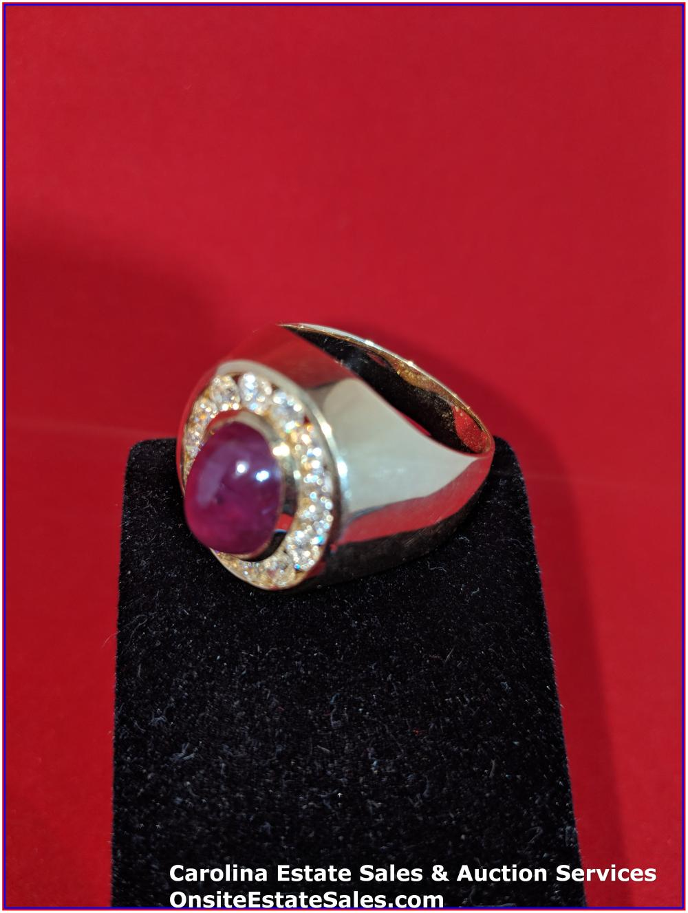 14K Gem Ring Gold 18 Grams Total Weight; 8 cts Cabochon Ruby; 1.9 cts