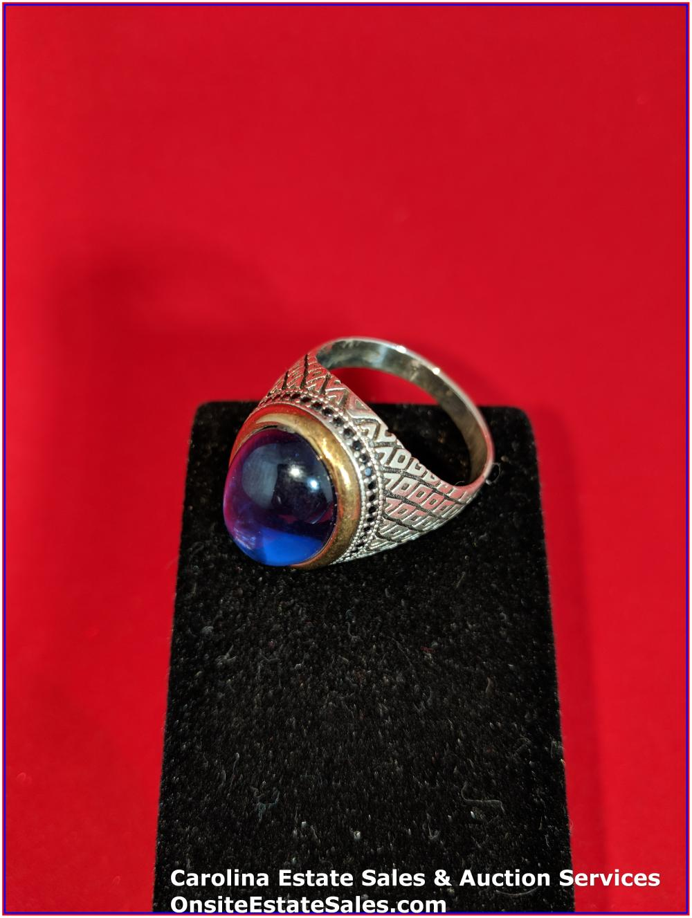925 Gem Ring Sterling 14 Grams Total Weight Includes Stone