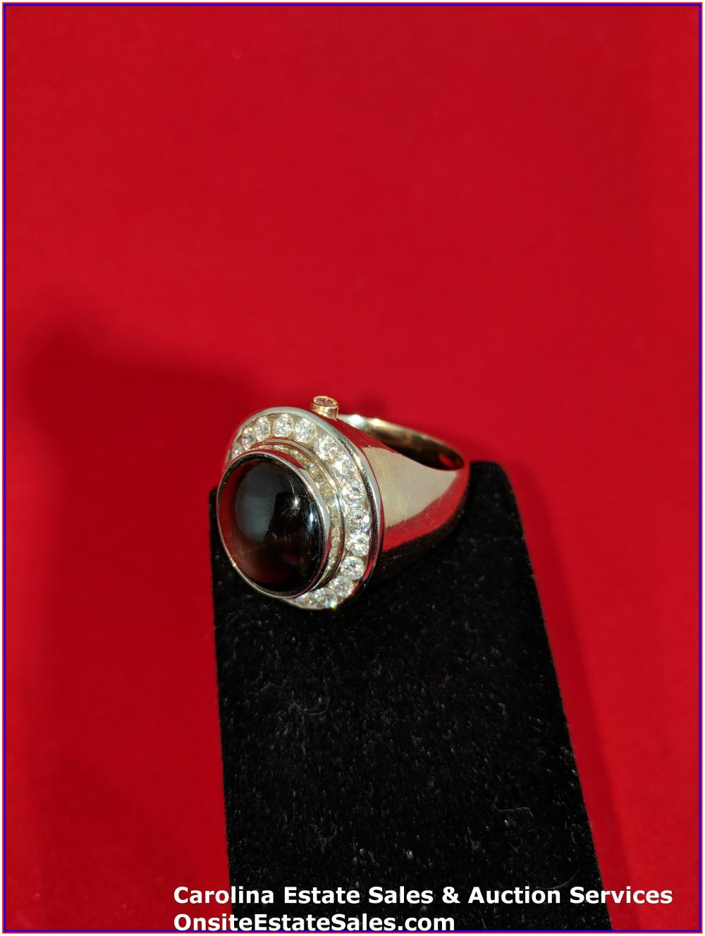 14K Gem Ring Gold 19 Grams Total Weight;  16 ct Cabochon Black Star Sapphire with 1.51 ct Diamond