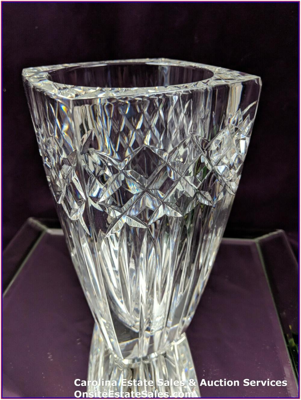 "Vintage 7"" Waterford Crystal Vase Signed Tom Brennan Thick & Heavy"
