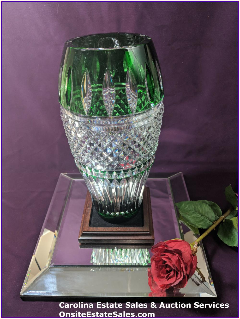 Waterford Cased Crystal Irish Lace Green vase 12""