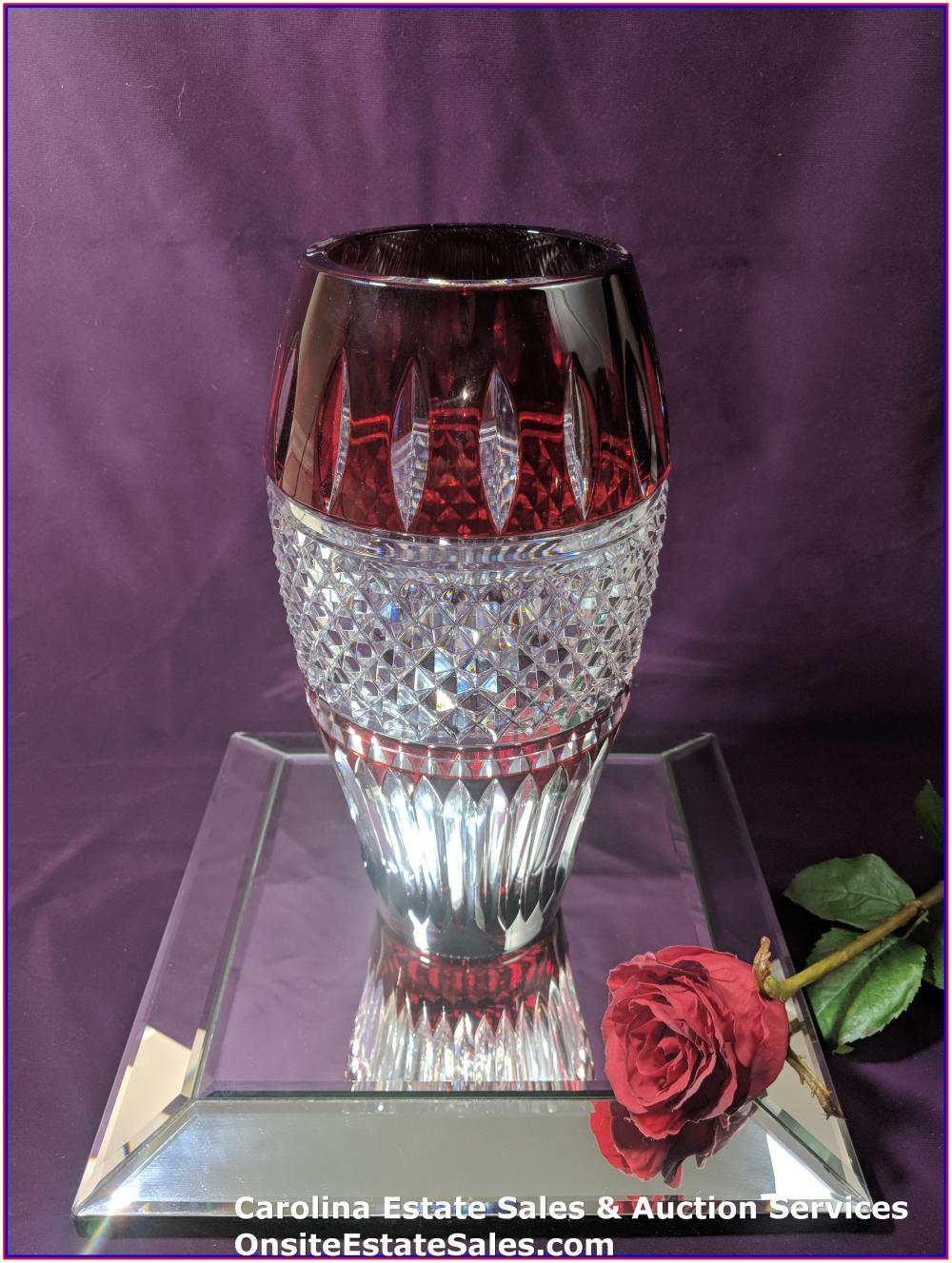 """Waterford Cased Crystal Irish Lace Ruby vase 12"""""""