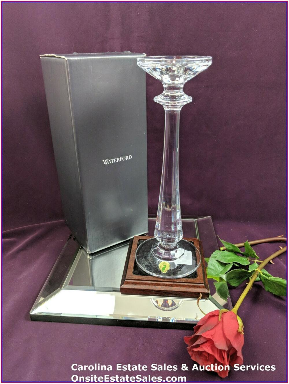 """Beautiful Waterford Crystal Illuminology 12"""" Faceted Footed Candlestick QTY:2"""