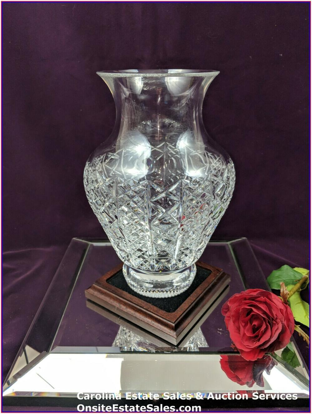"""Waterford Crystal Stunning 9.75"""" Vase Approx height: 9.75"""" top: 4.75"""", bottom: 3.75"""""""
