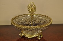 HAND CUT CRYSTAL AND BRASS BOWL