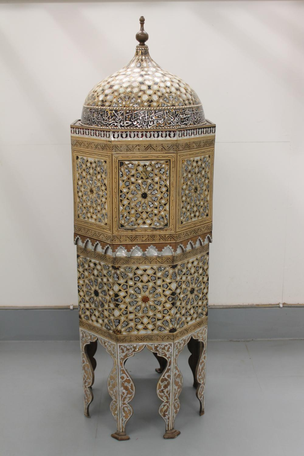 LARGE ISLAMIC WOODEN JEWELRY SAFE WITH INLAID