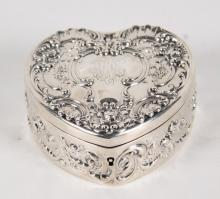 STERLING SILVER EMBOSSED HEART SHAPED HINGED BOX