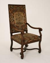 PROVINCIAL CARVED WALNUT NEEDLEPOINT FAUTEUIL