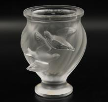 LALIQUE FROSTED CRYSTAL VASE
