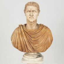 CARRARA AND SIENNA MARBLE BUST OF CLASSICAL SUBJECT