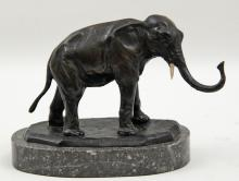 SIGNED BRONZE ELEPHANT ON MARBLE STAND