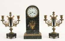 3 PIECE FRENCH MARBLE AND BRONZE MOUNTED GARNITURE