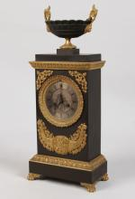 19TH FRENCH BRONZE LATE EMPIRE CLOCK, SIGNED