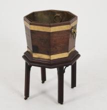 GEORGE III BRASS BOUND PLANTER WITH LINER