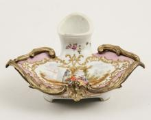 CONTINENTAL PORCELAIN BRONZE MOUNTED INKWELL