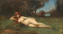JEAN JACQUES HENNER, FRENCH 19TH C. O/C NUDE SCENE PAINTING
