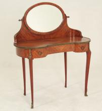FRENCH LOUIS XV STYLE KIDNEY SHAPED MAHOGANY TABLE COIFFEUSE