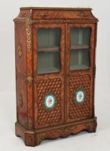 FRENCH BRONZE MOUNTED KINGWOOD BIBLIOTECH WITH SEVRES PLAQUES