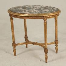 FRENCH LOUIS XVI CARVED GILTWOOD OVAL MARBLE TOP SALON TABLE