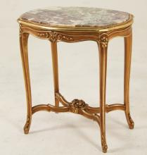 FRENCH LOUIS XV STYLE SERPENTINE MARBLE TOP SALON TABLE