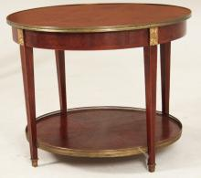 LOUIS XV STYLE BRONZE MOUNTED MARQUETRY BOUILLOTTE TABLE