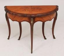 LOUIS XV STYLE KINGWOOD, ROSEWOOD AND MARQUETRY INLAID GAME TABLE