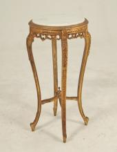 LOUIS XV CARVED GILTWOOD MARBLE TOP PEDESTAL TABLE