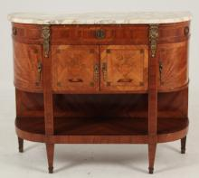 19TH C. LOUIS XV STYLE BRONZE MOUNTED MARBLE TOP BUFFET