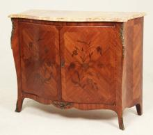 LOUIS XV STYLE BRONZE MOUNTED INLAID MARBLE TOP CABINET