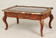 LOUIS XV STYLE BRONZE MOUNTED LOW SPECIMAN TABLE