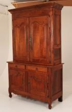 19TH C. PROVINCIAL FRENCH CHERRY BUFFET DEUX CORPS