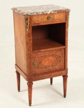 FRENCH LOUIS XVI STYLE AMBOYNA MARBLE TOP BEDSIDE CUPBOARD