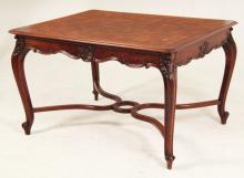 PROVINCIAL LOUIS XV STYLE CARVED WALNUT BREAKFAST TABLE