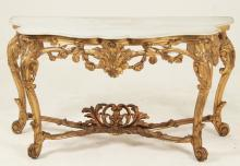 LOUIS XV CARVED GILTWOOD CONSOLE TABLE