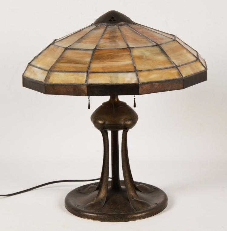 G H Trautmann Hammered Brass Lamp