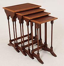 NEST OF 4 REGENCY STYLE SATINWOOD BANDED TABLES