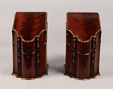 PAIR OF GEORGIAN STYLE FITTED KNIFE BOXES