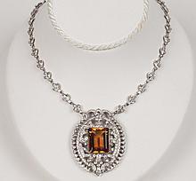 18K DIAMOND AND CITRINE NECKLACE