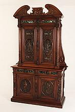 FRENCH CARVED WALNUT MANNERIST CABINET