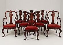 SET OF 8 PORTUGUESE CARVED MAHOGANY DINING CHAIRS