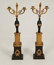 PAIR OF 19TH C. FRENCH EMPIRE DORE BRONZE CANDELABRA