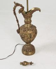 19TH C. FRENCH GILT BRONZE EMBOSSED EWER