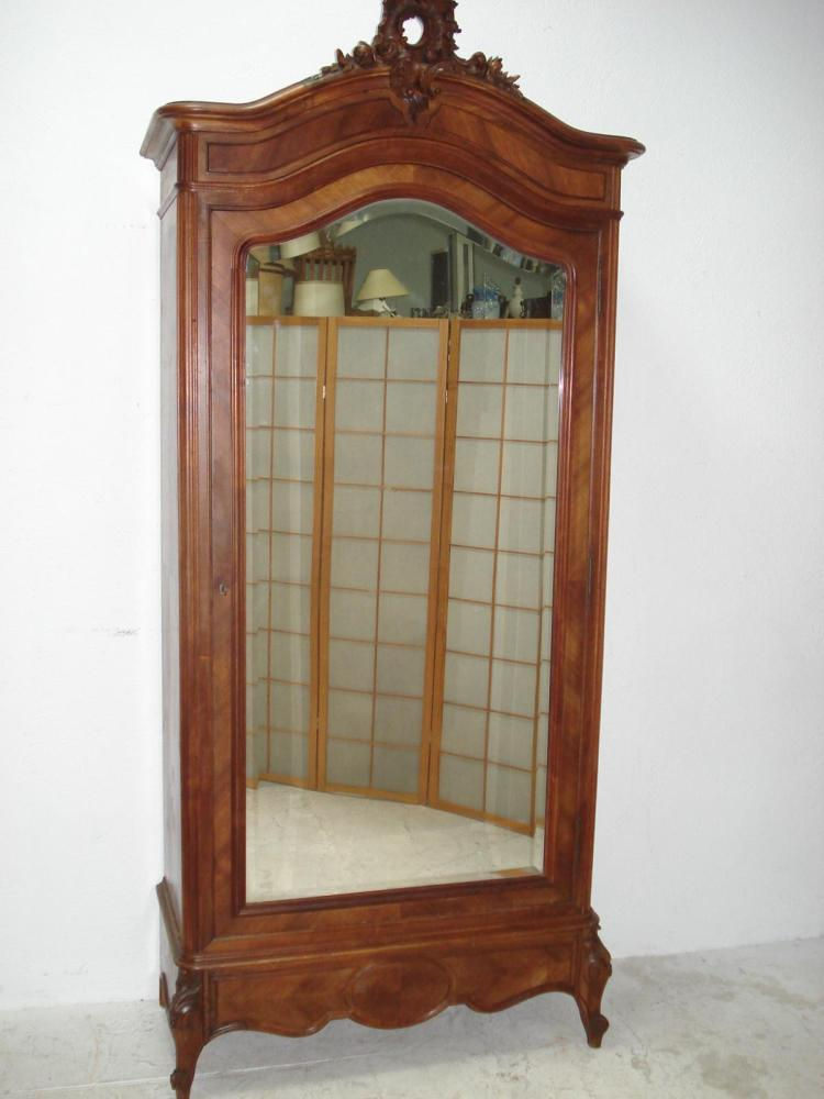 LOUIS XV STYLE WALNUT MIRROR DOOR ARMOIRE