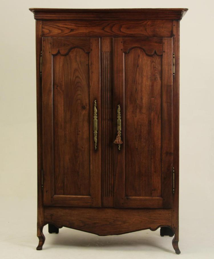 FRENCH PROVINCIAL SOLID ELM WOOD ARMOIRE