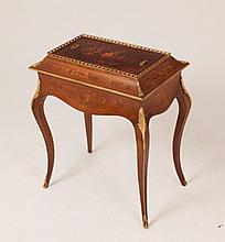 19TH C. LOUIS XV STYLE MARQUETRY INLAID JARDINIERE ON STAND