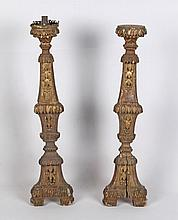 PAIR OF CARVED GILTWOOD PRICKET CANDLESTICKS