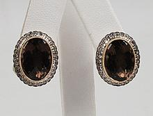 PAIR OF 18K YELLOW GOLD DIAMOND AND SMOKY TOPAZ EARRINGS