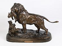 E. DELABRIERRE, LARGE 19TH C. FRENCH BRONZE SCULPTURE OF A LION WITH CUBS