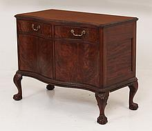 19TH C. ENGLISH CHIPPENDALE STYLE MAHOGANY SERPENTINE COMMODE